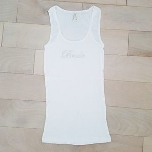 Bride white ribbed beater